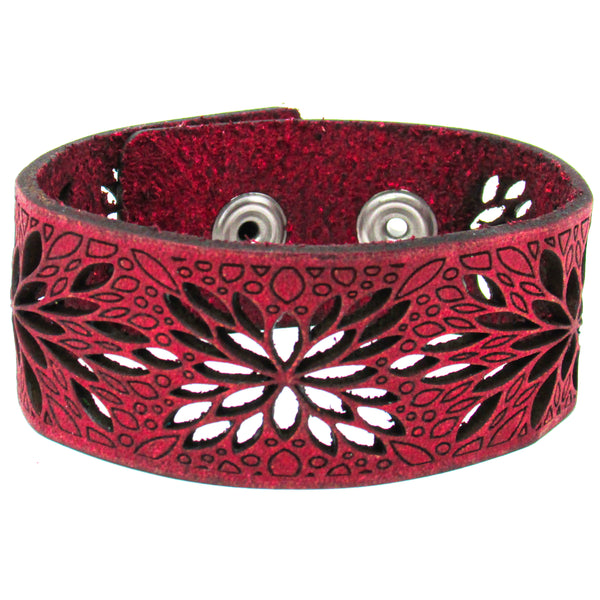 Women's Leather Bracelet - Flower Burst Cut