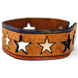 Women's Leather Bracelet - Stars and Bars Repeat