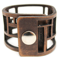 Women's Leather Cuff - Rectangle Cuts Cuff