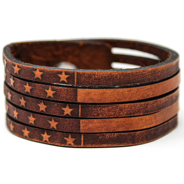 Women's Leather Cuff - American Flag Slice