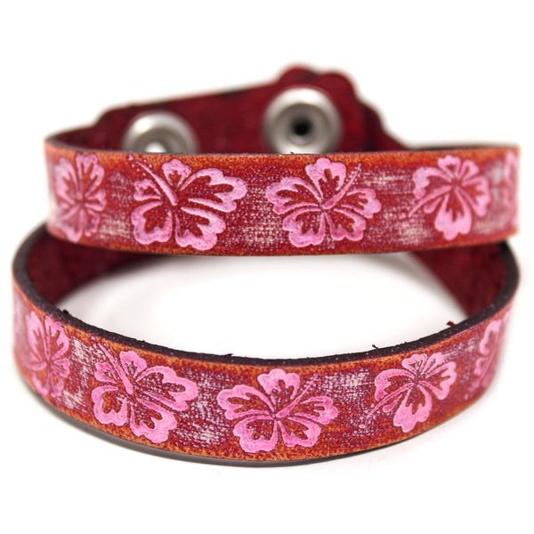 Women's Leather Wrap - Hibiscus Wrap