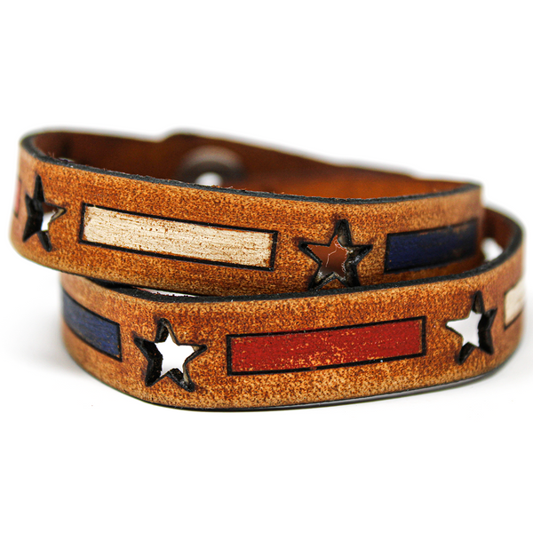Women's Leather Wrap - Stars and Bars