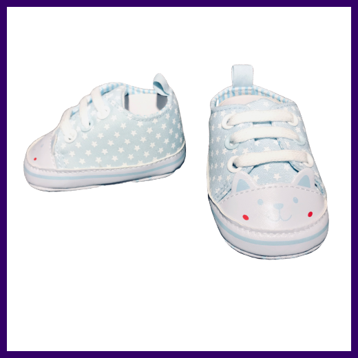Soft Touch Star Print Baby Shoes in Light Blue