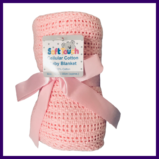 Soft Touch Pink Cellular Cotton Baby Blanket