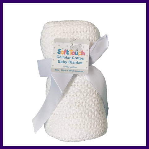 Soft Touch White Cellular Cotton Baby Blanket