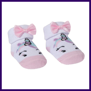 Baby Town Unicorn Socks in Pink with Organza Bag