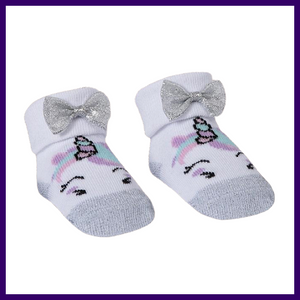 Baby Town Unicorn Socks in Grey with Organza Bag