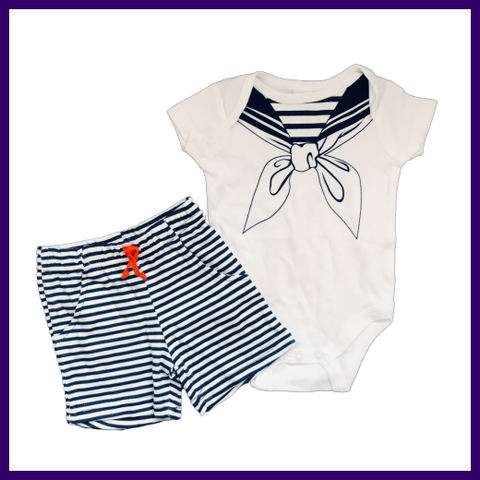 Soft Touch Two Piece Baby Boys Sailor Bodysuit & Shorts Outfit