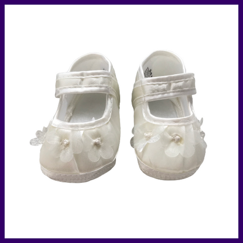Baby Christening Shoes with Petal Design