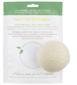 Konjac Facial Puff Sponge With Green French Clay