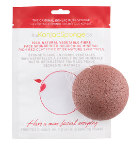Konjac Facial Puff Sponge With Red French Clay