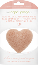Konjac Heart Sponge with Pink French Clay
