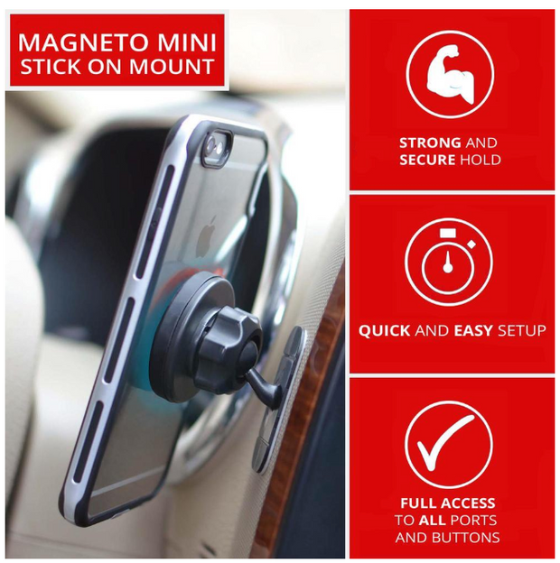 MAGNETIC CELL PHONE HOLDER FOR CAR, HOME AND OFFICE | ADHESIVE DASH MOUNT