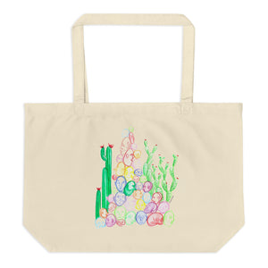""" Tête De Cactus "" Front And Back Print Large organic tote bag"