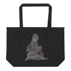 """ 2/7 Deadly sins "" Front Print , White Ink Large organic tote bag"