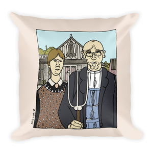 """ Grant Wood ""  Square Pillow"