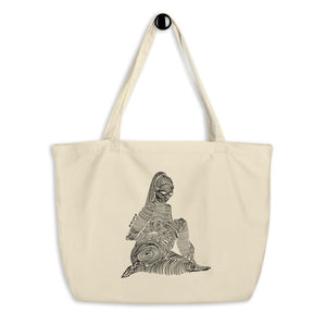 """ 2/7 Deadly sins "" Front Print, Black Ink Large organic tote bag"