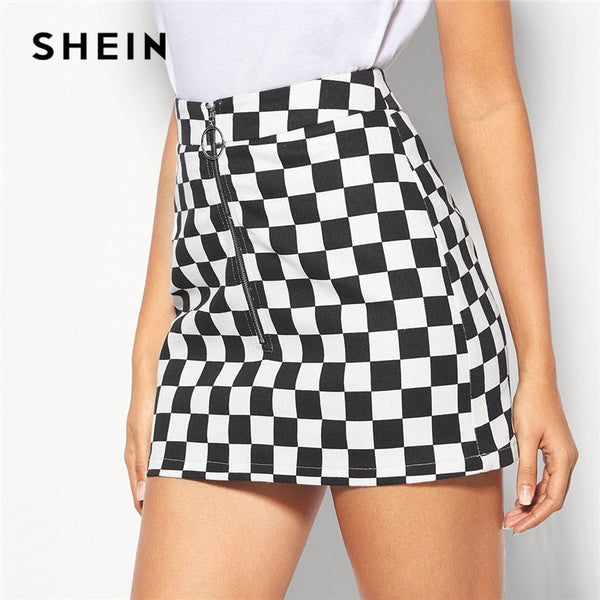 e5c1a13df3 SHEIN Black and White Lady Casual O-Ring Zip Fly Checkered Mini Skirt Women  Summer