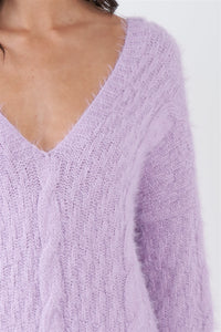 Lavender Dream Fuzzy Sweater Dress