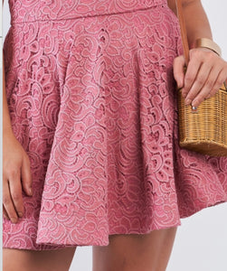 Mauve Floral Lace V-Neck Off The Shoulder Mini Flare Dress