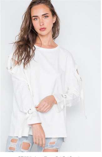Beverly Off White Long Sleeve Cut-Out Sweater