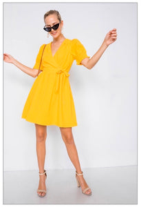 Joy Yellow Vintage V-Neck Classic Mini Sundress