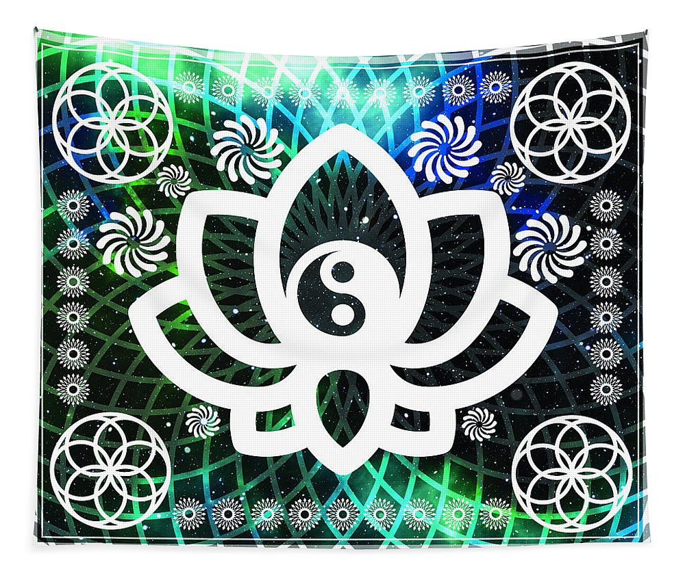 Yin Yang Lotus - Wall Tapestry