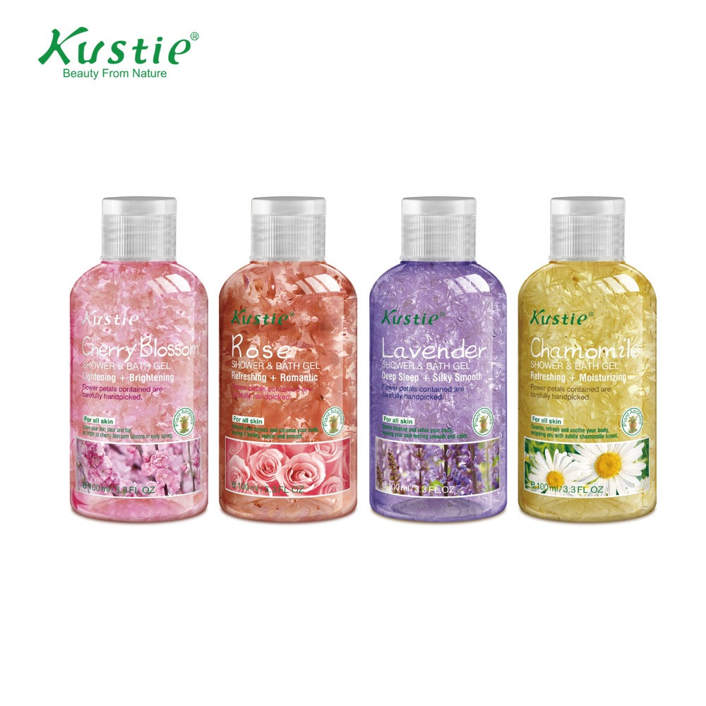 Kustie Best Selling Gift Set 100ml Shower Gel and 50 ml Cherry Blossom Lotion Pack with 4 PCS Free Gifts
