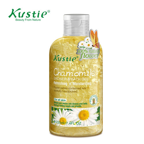 Kustie Watson's Qualify Supplier 100% Natural Flroal Petals Refreshing Chamomile Bath & Shower Gel 220ml