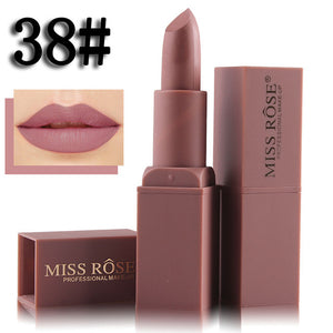 Miss Rose Brand Nude Matte Lipstick Batom 12 Colours Kilie Batom Cosmetic Long-lasting Nude Lip Gloss Professional Make up
