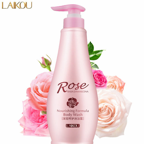 LAIKOU Natural Rose Essential Oil Nourishing Body Wash Deep Cleansing Moisturizing Whitening Shower Gel Skin Care Bath Gel 500G