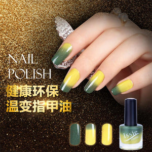 Follome 15ml Gel Nail Polish Temperature Color Changing Nail Polish Thermal Color Change UV Gel Lacquer Green Yellow 1PC