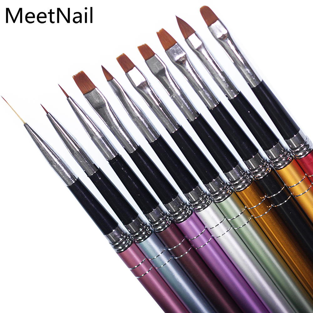 MeetNail 10Pcs UV Gel Nail Art Brush 8 Design Painting Drawing Liner Fin Polish Pen Tools Tips Manicure DIY Kit