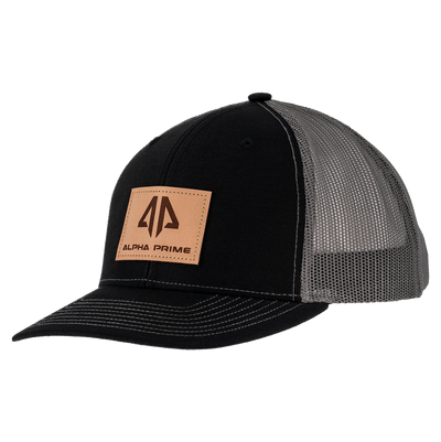 AP Patch Trucker Snapback Hat - 112RCHSQ-Black/Charcoal