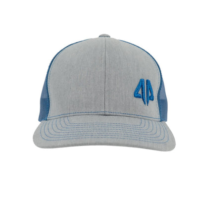 AP Retro Trucker Snapback Hat - Heather Grey & Royal Blue