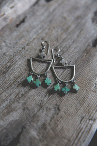 Light Burden Hoop Earrings -- Turquoise Crosses