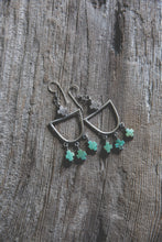 Load image into Gallery viewer, Light Burden Hoop Earrings -- Turquoise Crosses