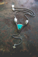 Load image into Gallery viewer, Echo of Flight Lariat Necklace -- Blue Gem Turquoise