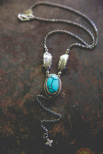 Load image into Gallery viewer, Echo of Flight Lariat Necklace -- Desert Web Turquoise