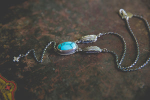 Echo of Flight Lariat Necklace -- Desert Web Turquoise
