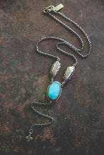 Load image into Gallery viewer, Echo of Flight Lariat Necklace -- Morenci Turquoise