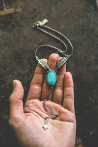 Echo of Flight Lariat Necklace -- Morenci Turquoise