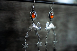 Jackrabbit and Dune Earrings -- Hessonite