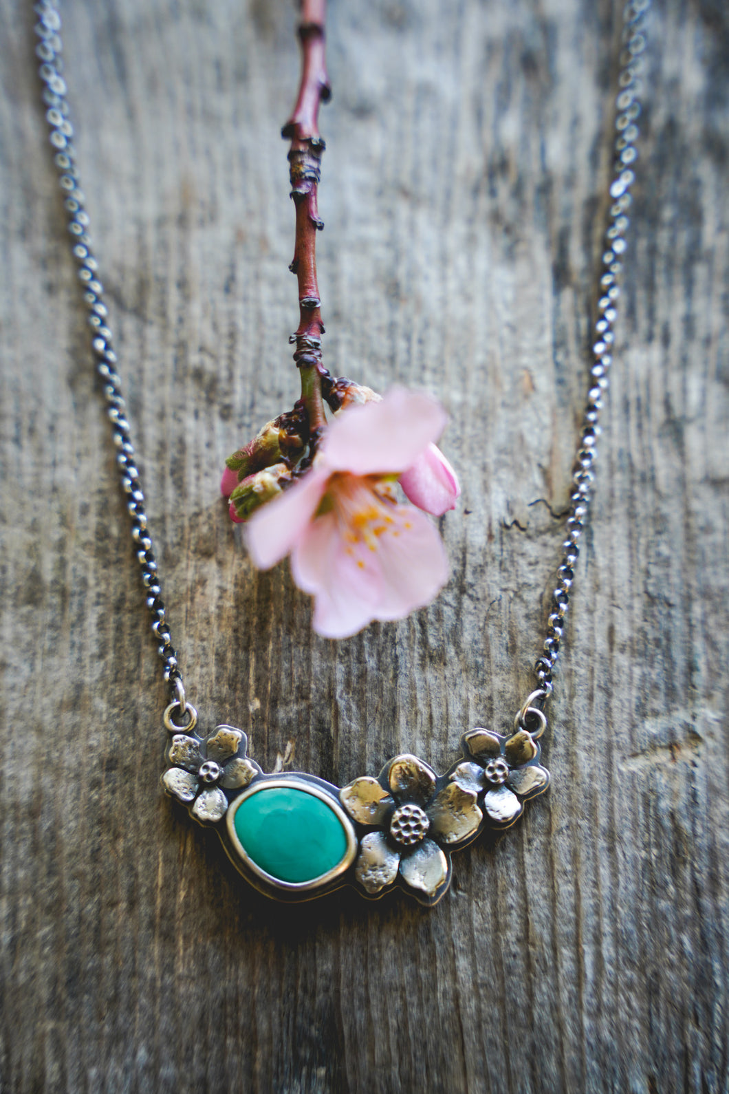 Apple Blossom Necklace -- Turquoise