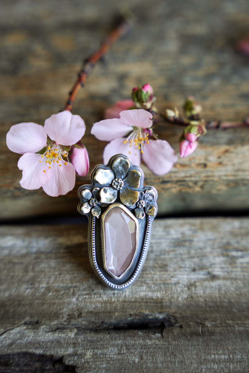 Apple Blossom Ring -- Peach Moonstone -- Size 7