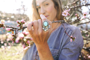Apple Blossom Ring -- Turquoise -- Size 8.75