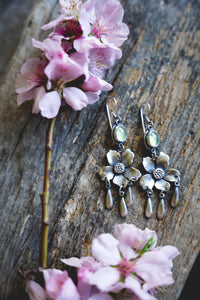 Apple Blossom Earrings -- Prehnite
