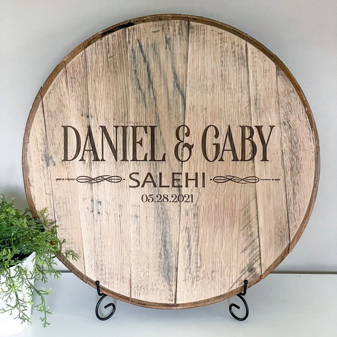 First and Last Name Bourbon Barrel Guestbook - FREE SHIPPING