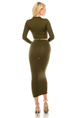 Always Keep It Classy Long Skirt Set - Dark Green