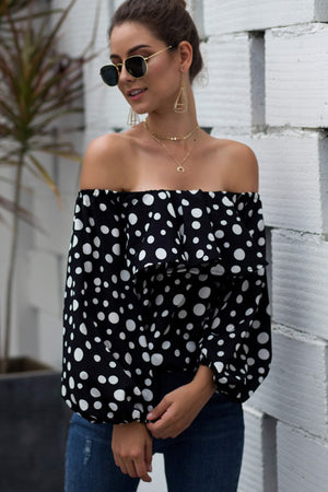 Keep It Moving Off Shoulder Top-Black